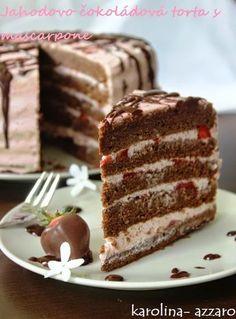 karolina-azzaro: Jahodovo čokoládová torta s mascarpone Azzaro, Vanilla Cake, Chocolate Cake, Tiramisu, Cheesecake, Good Food, Food And Drink, Baking, Eat