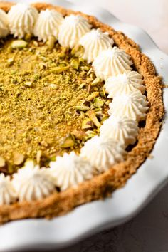 This Pistachio Pie with Mascarpone features a tangy baked custard with pistachio crumbs inside of a crunch salty pretzel crumb crust. It's a wonderful blend of flavors and textures and is a show stopping pie to serve for dessert. Pistachio Pie, Pistachio Recipes, Types Of Desserts, Just Desserts, Pie Recipes, Sweet Recipes, Apple Slab Pie, Pretzel Crust, Sweet Pie