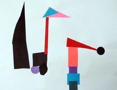 Kindergarten shape collage after reading book 'Mouse Shapes'