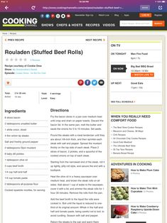 Cooking Channel Shows, Beef Roll, Recipe Search, Food Videos, Bbq, Recipes, Rouladen, Barbecue, Barbacoa