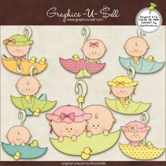 April Showers Babies 1 - Clip Art by Alice Smith