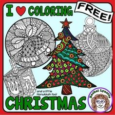 Christmas and Hanukkah I Heart Coloring! by Rachel Lynette Student Christmas Gifts, Christmas Gifts For Women, Kids Christmas, Christmas Crafts, Christmas Bingo, Xmas, Grinch Christmas, Coloring Books, Coloring Pages