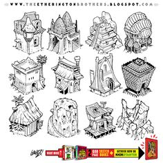 Some building designs from my two GIANT 600 page sketchbooks. Both available for just SEVEN MORE DAYS as part of THIS KICKSTARTER. Lorenzo!