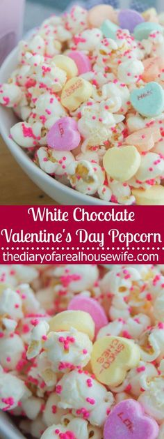 This simple to make White Chocolate Valentine's Day Popcorn makes the perfect treat for the one you love or a gift for a special friend. Valentine Chocolate, Valentine Treats, Valentines, Easy Desserts, Delicious Desserts, Dessert Recipes, Yummy Food, Yummy Treats, Sweet Treats