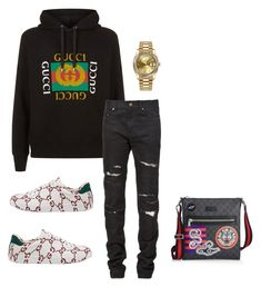 """""""Untitled #651"""" by aintdatjulian on Polyvore featuring Gucci, Yves Saint Laurent, Rolex, men's fashion and menswear"""