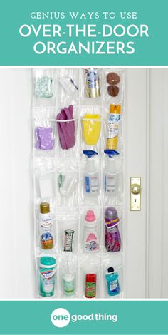An over the door organizer can do much more than just hold your shoes! Check out these 13 unexpected ways to use them around your house! #organize #tipsandtricks #homeorganization