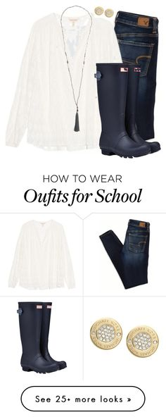 """Why school do you have to be on a Monday!"" by camlinker on Polyvore featuring American Eagle Outfitters, Rebecca Taylor, Hunter and Michael Kors"