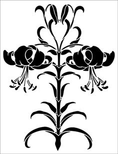 Morris Lily stencil from The Stencil Library GENERAL range. Buy stencils online. Stencil code 154.