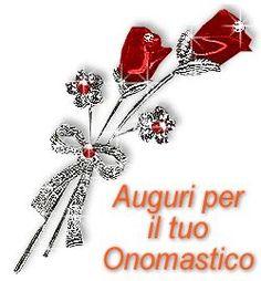 Gif animata con rose rosse per gli auguri di buon onomastico con amore