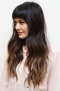 brunette dark hair with light ends