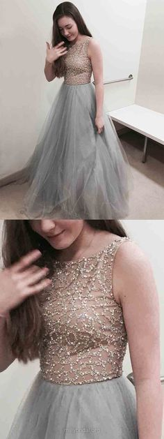 Grey Prom Dresses Long, Silver Prom Dresses For Teens 2018, Princess Formal Evening Dresses Scoop Neck, Tulle Party Pageant Dresses Beading Modest