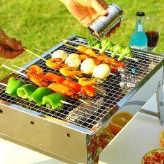 Outdoor Portable Compact Stainless Steel Charcoal Grill Shish Kebab Kebab BBQ Barbecue Shashlik