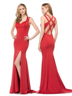 Colors 1538 Elegant Strappy Back with High Leg Slit Prom Evening Dress