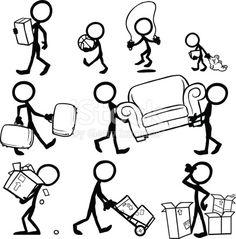 Stickfigures moving furniture, moving boxes, suitcases. Moving House, carrying objects.