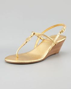Tory Burch Emmy Demi Wedge Thong Sandal, Gold on shopstyle.com