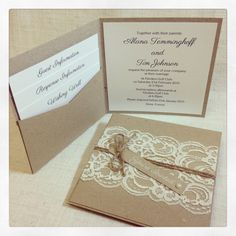 This is a listing for a SAMPLE Rustic Vintage Lace Wedding invitation with white ink printing on tag with pearl embellishment This is a square