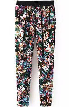Black Elastic Waist Vintage Floral Pant 18.67