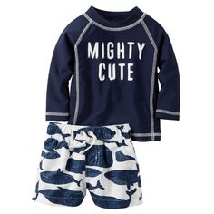 Headed to the beach this summer? Keep him covered in this mighty cute rashguard set!