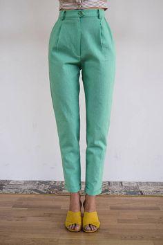 High Waisted Pants / Vintage Pants/ Mint Pants/ High Waist Vintage Pants, Vintage Outfits, Mint Pants, Work Attire, Size Model, Linen Fabric, High Waist, Trousers, Spring