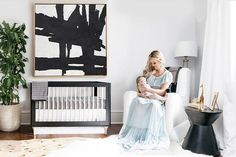 Celebrity Client - Former Bachelorette, Emily Maynard's Nursery. Interior design by Oilo Studio, the black white art from CZ Art Design. Grey Nursery Boy, White Nursery, Project Nursery, Nursery Ideas, Minimalist Painting, Black White Art, Modern Spaces, Nursery Design, Contemporary Paintings