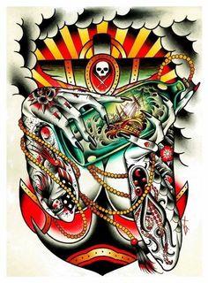 Cool very detailed artwork. Life Tattoos, Body Art Tattoos, Sleeve Tattoos, Cool Tattoos, Awesome Tattoos, Tattoo Ink, Traditional Bear Tattoo, Traditional Tattoo Flash, Ed Hardy Tattoos