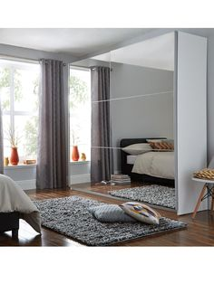 ideas for bedroom mirror wardrobe sliding doors Sliding Wardrobe Doors Uk, Mirrored Wardrobe Doors, Wardrobe Door Designs, Sliding Doors, Entry Doors, Ikea Sliding Wardrobes, Sliding Mirror Wardrobe, Large Wardrobes, Home Decor Ideas