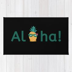 Aloha Hawaii Pineapple Summer Vibes Beach Paradise Chill Time Rug by Aloha Hawaii, Classic Home Decor, Cool Rugs, Throw Rugs, Summer Vibes, Weave, Chevron, Chill, Paradise