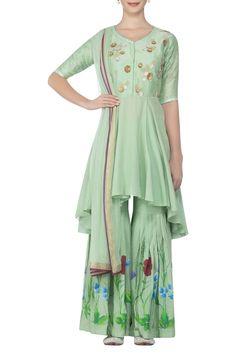 575efb01e6 Buy Gota embroidered kurta with printed sharara & dupatta by Devnaagri at  Aza Fashions. ShararaCold Shoulder DressTunic ...