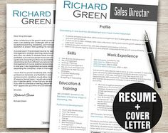 Resume and Cover Letter Template - Resume Template - Professional Resume Instant Download - Resume Download - Modern Resume,Sales Resume