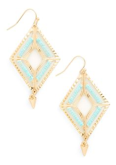 Old-Fashioned Opulence Earrings. For retro with an art-deco flavor reach for these gold, rhombus-shaped statement earrings! #blue #modcloth