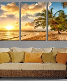 Us 160 Hd Printed Oil Painting On Canvas 3 Panel Tree Sunset Beach Landscape Modern Home Wall Art Decor Frame Pictures Art Poster In Painting Amp Beach Canvas Art, Canvas Art Prints, Canvas Wall Art, Wall Art Prints, Wall Art Pictures, Canvas Pictures, Painting Pictures, Home Wall Art, Wall Art Decor