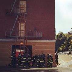 SFFD raising the 50' wooden ladder today. Come see our 8' and 12' fire ladders in the shop! #workshopresidence