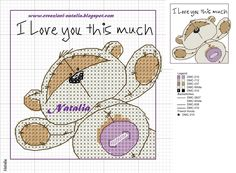 """Cross-stitch Fizzy Moon """"I Love You this Much"""""""