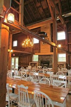 The barn at harvest moon pond,  tables and fireplace