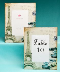 Paris Themed Frames. Perfect for holding table numbers or as pretty favors. See more planning ideas for your Paris themed event at www.sparklerparties.com/a-night-in-paris
