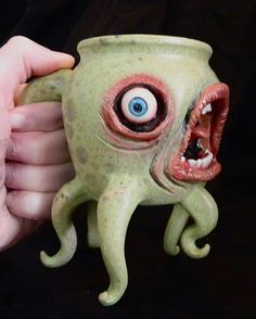 Extraterrestrial Mug… this is hilarious! ~ Too cute ... Looks like North Carolina pottery ...