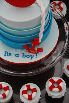 Nautical cake... I'd probably do this for my next baby boy order bday!!!