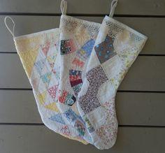 Repurposed quilt - Quilted Stocking.