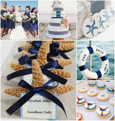 Navy Blau Strand Sommer Hochzeit Kollektion Hochzeitstorten Dekoration Brautjungferkleider Romantische Sommerhochzeit am Strand in Blau & Grün