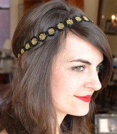 Beaded headband, Black and Gold Hairband, Saints Headband, Purdue Headband for Women by Jill's Boutique on Etsy on Etsy, $32.00