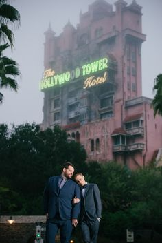 A foggy morning at Hollywood Studios in front of the Tower of Terror!