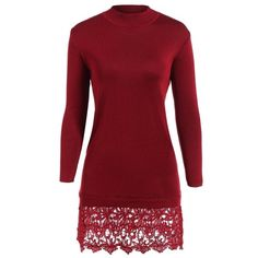 20.1$  Buy here - http://dicaz.justgood.pw/go.php?t=198547601 - Lacework Splicing Long Sleeve Sweater Dress