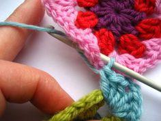 join as you go crochet grannies method