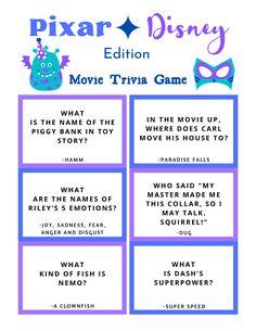 FREE Disney Pixar Trivia Game Printable Disney Quiz Questions, Trivia Questions For Kids, Disney Princess Facts, Disney Facts, Disney Pixar, Disney Games For Kids, Disney Party Games, Abc Learning, Disney Printables