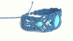 Free Shipping Lapis Lazuli Blue Micro-macrame by MDsCraftBox