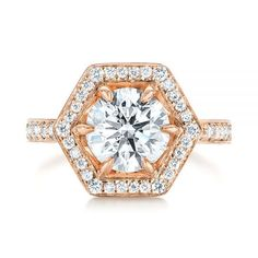 Custom Rose Gold Round Brilliant Diamond Hexagon Halo Six Prong Engagement Ring | Joseph Jewelry |  #engagementring  | Bellevue | Seattle | Online | Design Your Own Engagement Ring