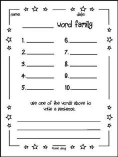 "FREE LANGUAGE ARTS LESSON - ""Word Family Center Sheet (K-1)"" - Go to The Best of Teacher Entrepreneurs for this and hundreds of free lessons. Kindergarten - 1st Grade    #FreeLesson    #LanguageArts      http://www.thebestofteacherentrepreneurs.net/2016/10/free-language-arts-lesson-word-family.html"