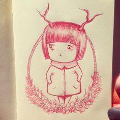 Little horn - #ilustra #sketch #esferográfica #camafeu