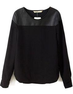 Contraste Negro manga larga de la PU de la blusa