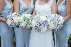 Bridesmaids Flowers Bouquets Pink Blue Pretty Pastel Relaxed Rustic Wedding http://www.kayleighpope.co.uk/